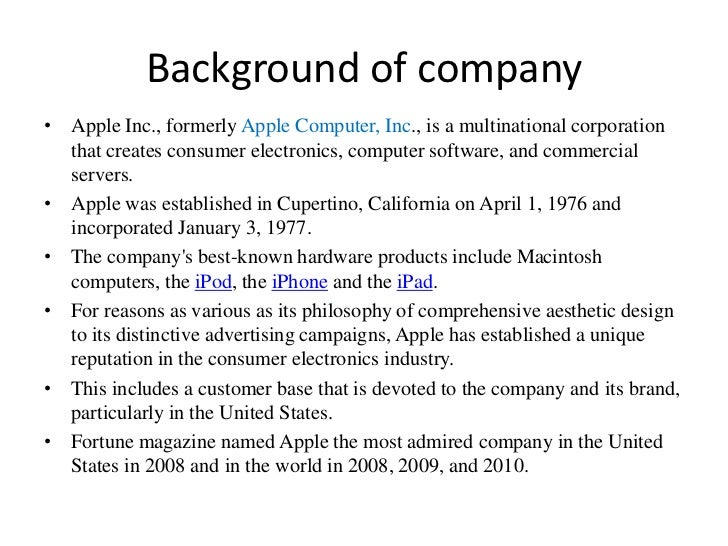 company background sample