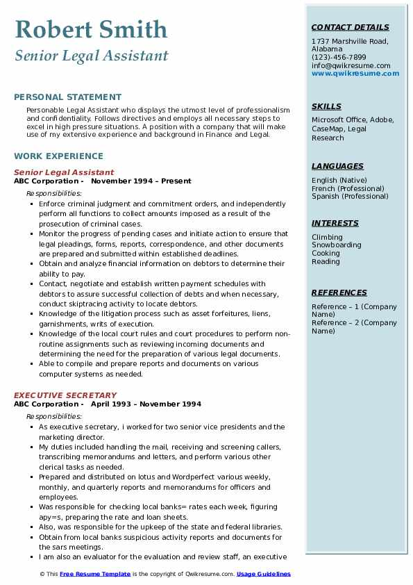 company resume sample format