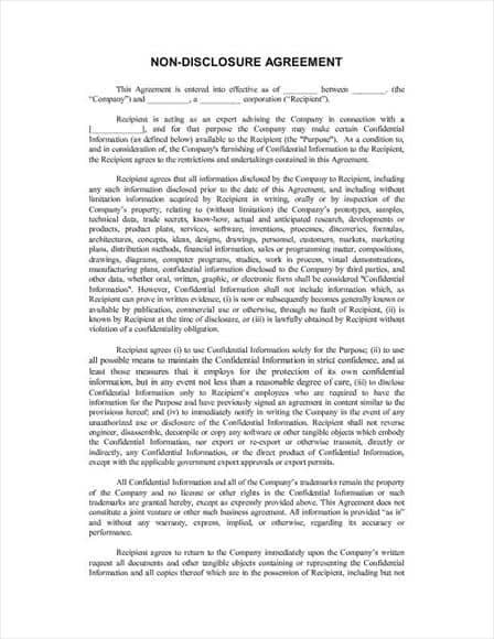 confidentiality agreement sample pdf