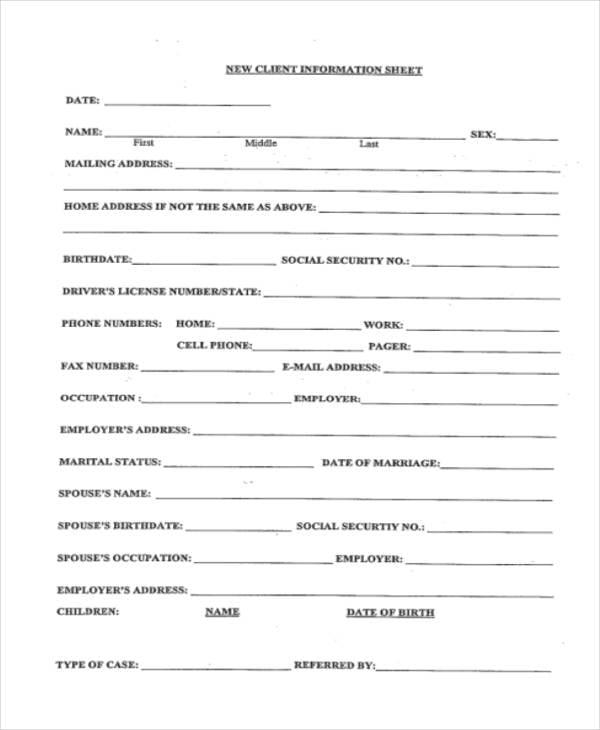 client information sheet pdf