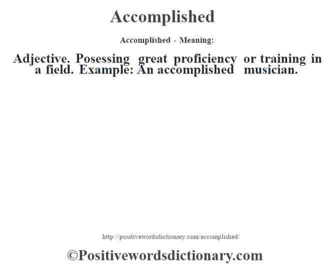 dictionary definition for accomplish