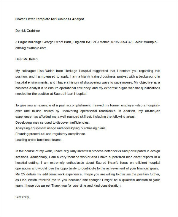 business analyst cover letter pdf