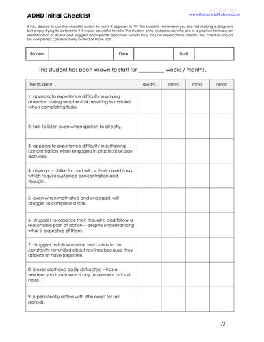 autism checklist pdf
