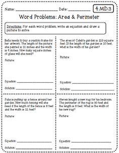 area and perimeter word problems 4th grade pdf