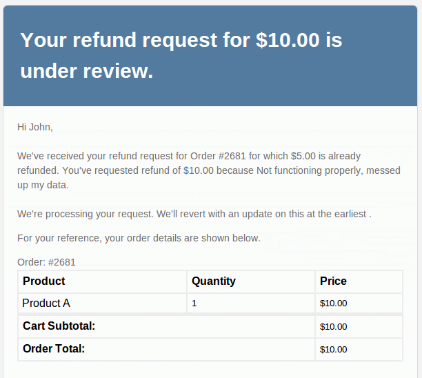 asking refund email sample