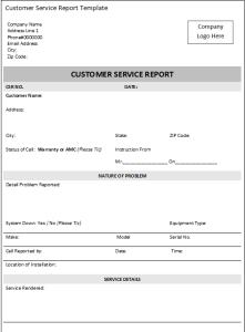 customer service report sample
