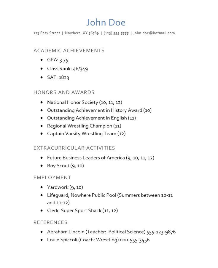 cv for college application