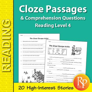 cloze passage for grade 4 pdf